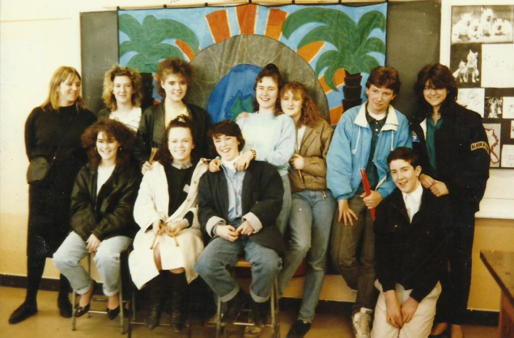 Foxwood Steel Band 1987/8 with banner made by Trish Senior