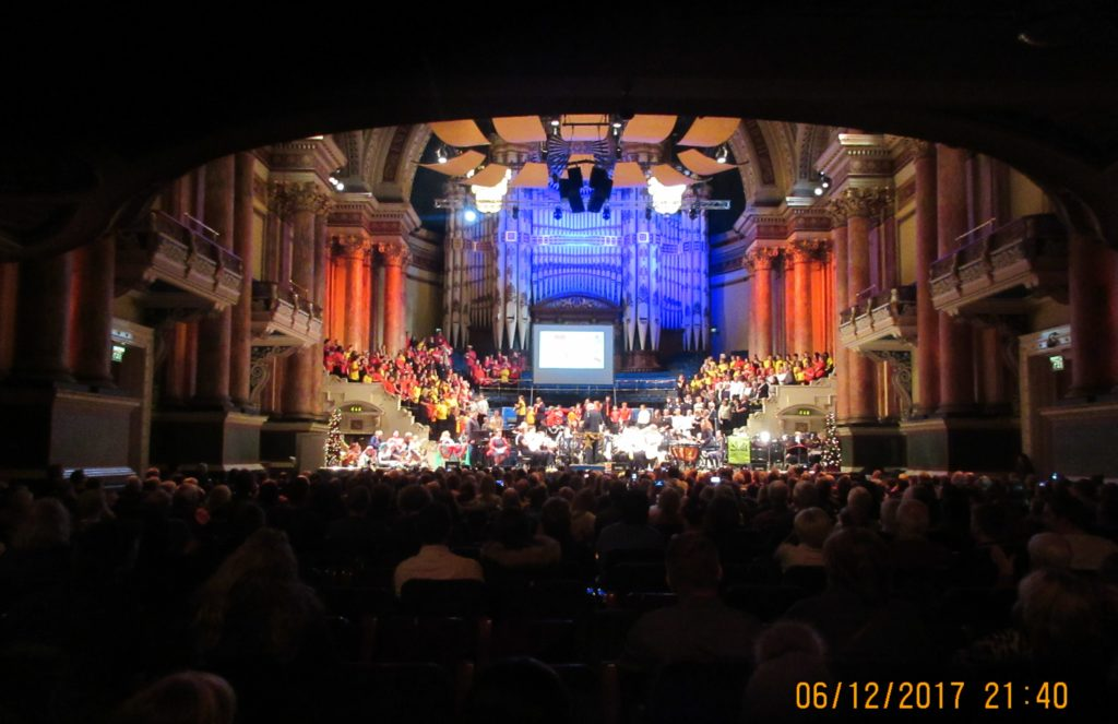 East Steel on stage at Leeds Town Hall for YAMSEN:SpeciallyMusic Lord Mayor's Christmas Concert December 2017