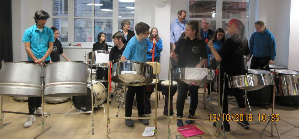 Sparrows at NEU Anti-Racism Conference, with Kiri, Kevin and Patrick on percussion.