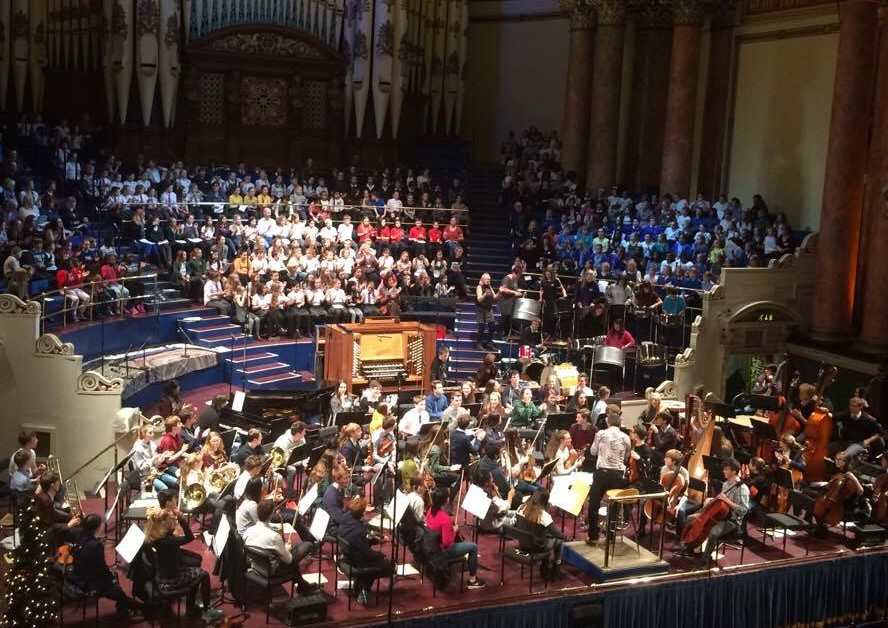 Sparrows 2016 with other ArtForms ensembles at Leeds Town Hall winter