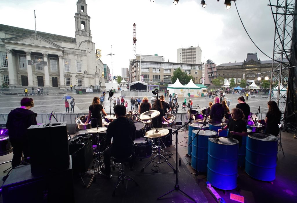 Sparrows 2015 July in Millennium Square Leeds