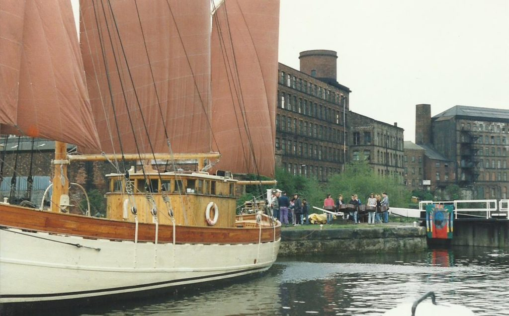 Foxwood c 1990 play sailing boat launch Leeds Canal