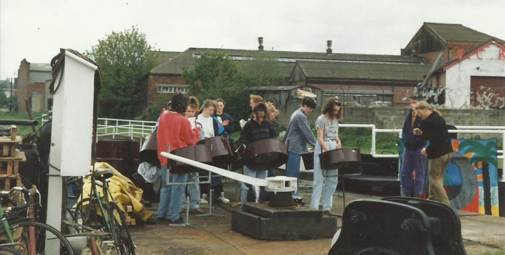 Foxwood c 1990 play Leeds Canal for Sailing Boat launch
