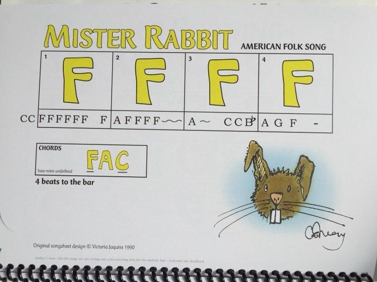Mr Rabbit songsheet