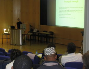 Victoria 2006 presenting at International Pan Conference at UEL