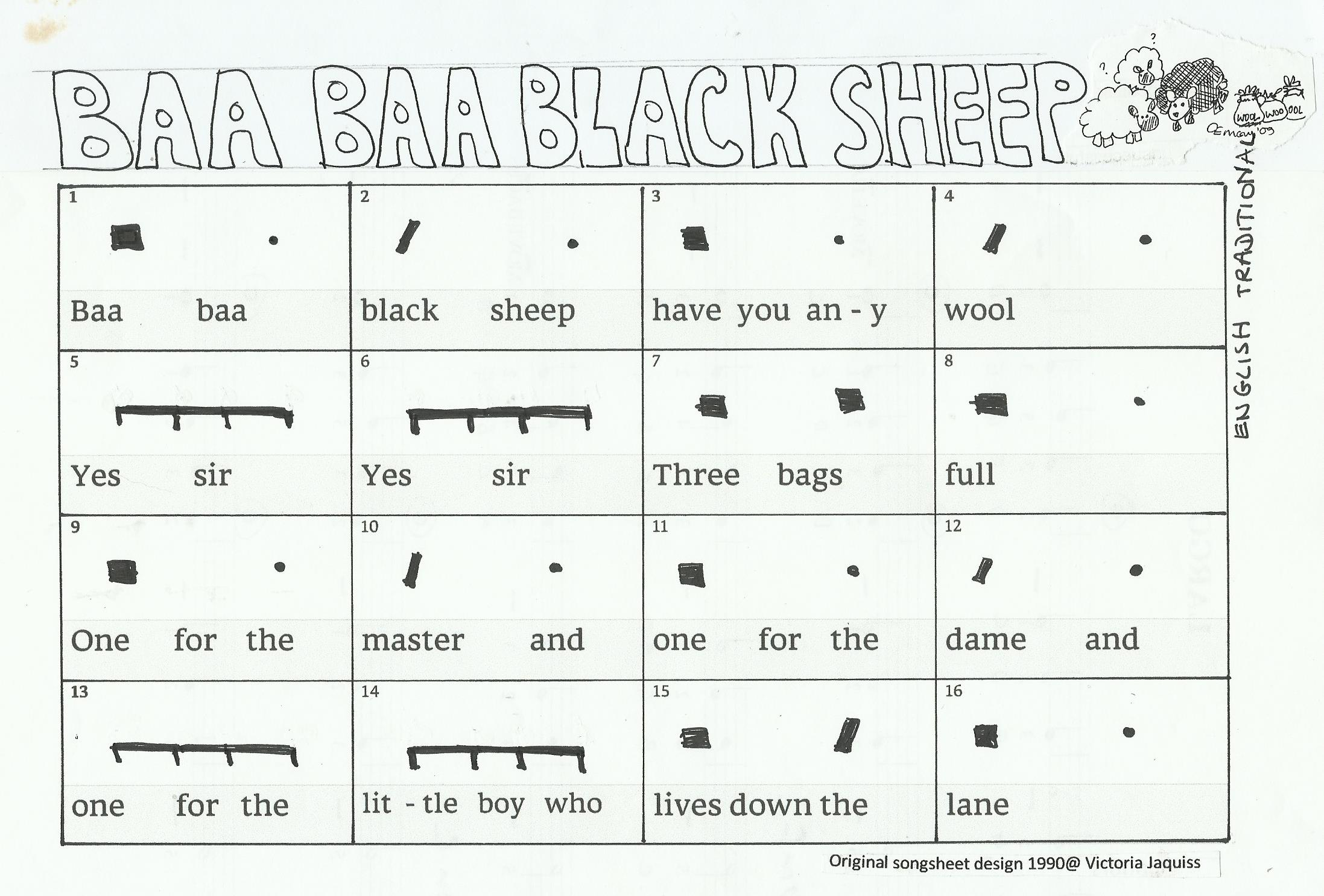 Baa Baa Black Sheep with percussion